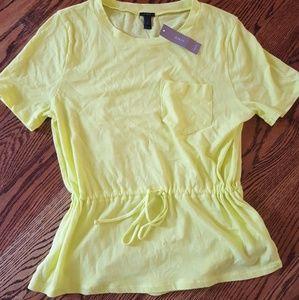 J Crew Bright Yellow Tie Drawstring Tshirt Small